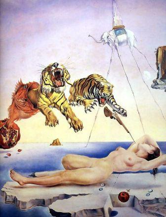 Сон, навеянный полётом пчелы вокруг граната, за миг до пробуждения (1943) Сальвадор Дали